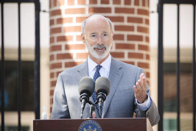 Pennsylvania Governor Tom Wolf speaking with the press in York, Pennsylvania on October 8, 2020.