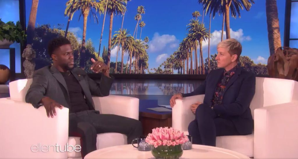 Kevin Hart speaks on the Ellen DeGeneres show about the controversy over his old homophobic tweets and the offer to host the Oscar