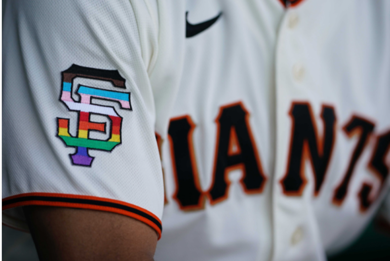 The San Francisco Giants jersey with the Pride-colored logo on the sleeve.