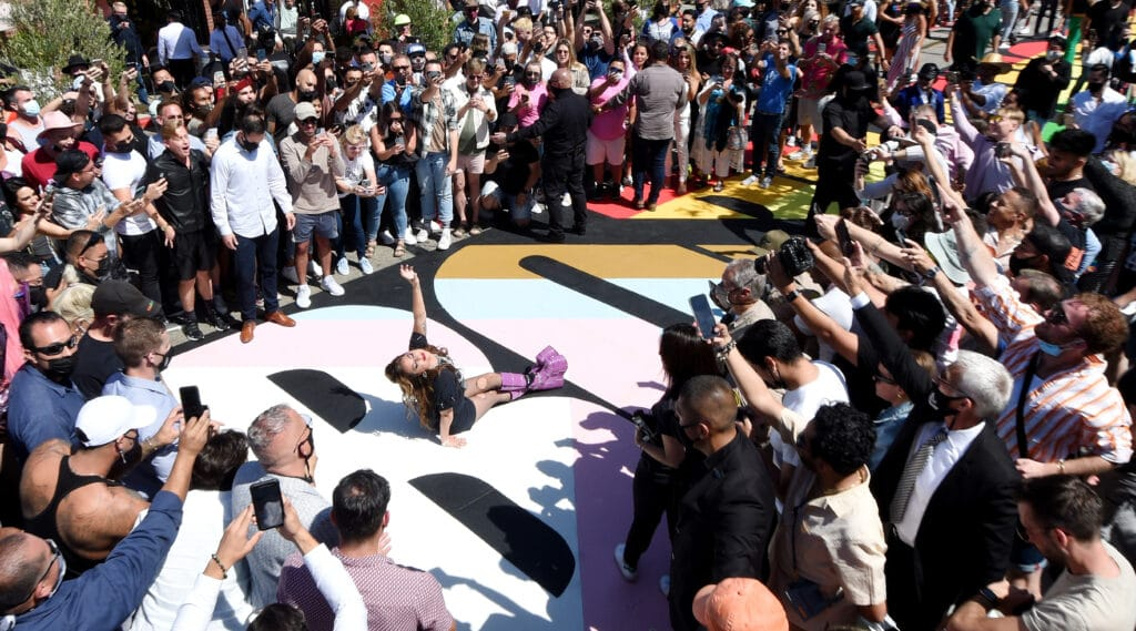 Lady Gaga poses on the 'Born This Way Day' painted crosswalk on Robertson Boulevard